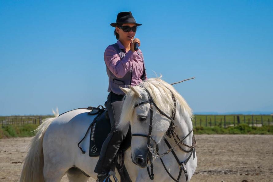 e21785b2bbb4 La belle Céline Legaz, reine de l équitation de travail camargue, lors de l  édition 2017 © Alain Dessagne